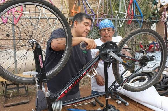 Warm Showers host Bob Chacon (not picture, his sweetie, Jessy) created and works with WE-CYCLE, a program that helps kids and adults in a bike recycling program. - Phoenix, AZ - https://www.we-cycle.org/